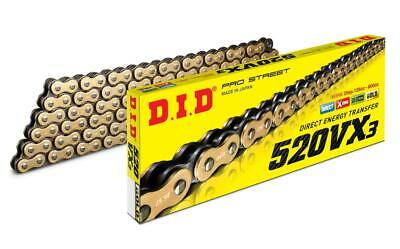DID 520 VX3 Super Heavy Duty Gold X-Ring Chain 98 Links, With Joining Link • 57.91£