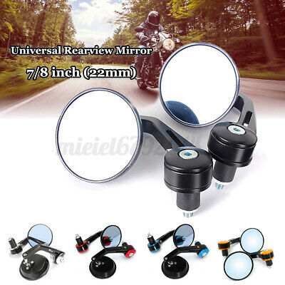 7/8'' 22MM Motorcycle Motorbike Round Handle Bar End Rearview Side Mirrors  • 11.69£