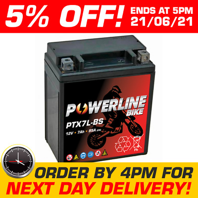 PTX7L-BS Powerline Bike Motorcycle Battery Replaces YTX7L-BS • 24.95£