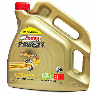 Castrol Power 1 4T 10w-40 Motorcycle 4 Stroke Engine Oil 10W40 4 Litre 4L • 31.95£