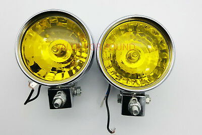 Universal Round Front Double Halogen Spot Light For Truck Van Suv 12v Yellow 2pc • 36.99£