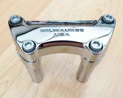 "Harley Chrome 'Milwaukee USA' Handlebar Clamp & 4"" Risers Sportster Dyna Softail • 75£"