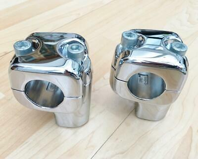 Harley Chrome Pullback 1¼ Handlebar Risers & Clamps FLSTF Fat Boy 56887 56889-07 • 105£