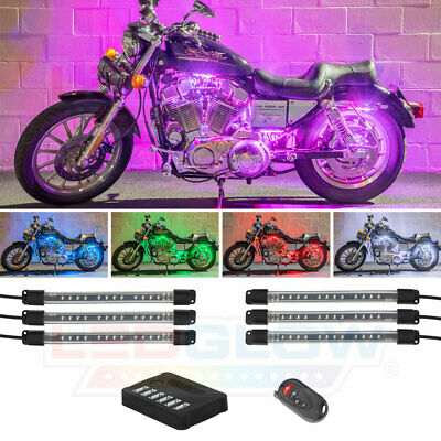 LEDGlow 6pc MILLION COLOR LED MOTORCYCLE FENDER BODY ACCENT LIGHT LIGHTING KIT • 34.19£