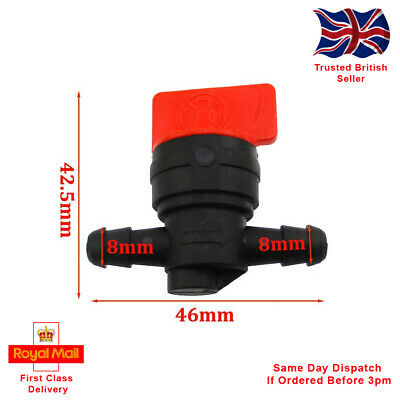 Universal 8mm Plastic Petcock/Fuel Tap, For 1/4  ID Pipe. Motorcycle, Lawnmower. • 3.25£