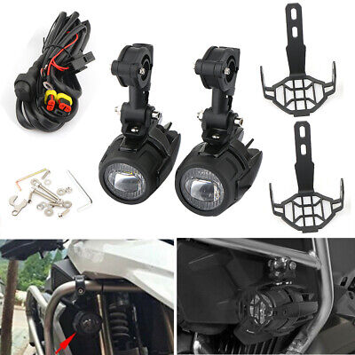 Black LED Auxiliary Fog Light Driving Spotlight & Cover & Wiring For BMW R1200GS • 58.89£