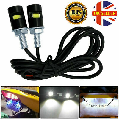 2x UNIVERSAL LED NUMBER PLATE TAIL TIDY LIGHTs CAR MOTORCYCLE BOLT LIGHT LAMP UK • 3.29£