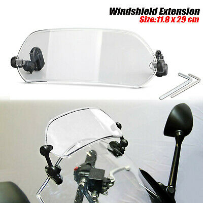 Motorcycle Adjustable Clip On Windshield Extension Spoiler Wind Deflector Clear • 21.58£