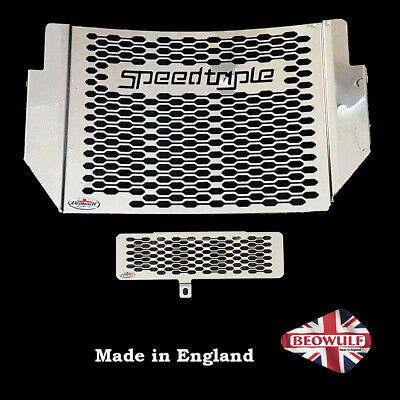 1050 Speed Triple (16-20) Beowulf Polished Radiator & Oil Cooler Guards T037 • 86£