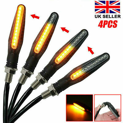 4PCS 12 LED Motorcycle Rear Front Turn Signal Light Sequential Flowing Indicator • 8.99£