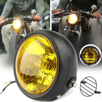 6.5in Yellow Retro Motorcycle LED Headlight Side Mount Cover+Grill Cafe Racer • 13.39£
