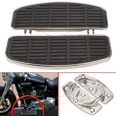Black Footboards Rubber Inserts & Chrome Bottoms Fit For Harley Touring Softail • 93.98£