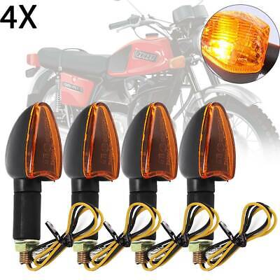4x LONG&SHORT STEM MOTORCYCLE BULB INDICATORS BLACK WITH AMBER LENS MOTORBIKE UK • 9.49£