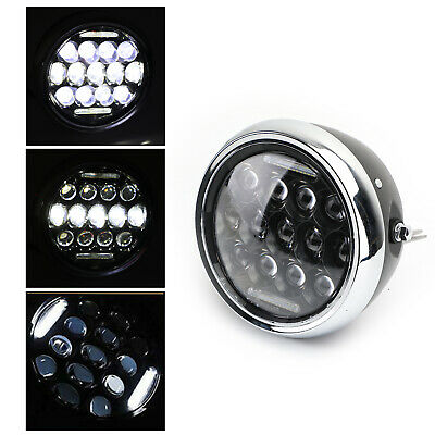 7'' Motorcycle LED Headlight Round Projector For Cafe Racer Chopper Criuser GB • 55.25£