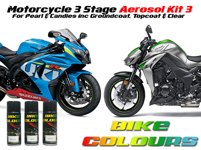 Motorcycle Aerosol Paint Kit 3 All Makes For Pearl And Candy Colours • 36.99£