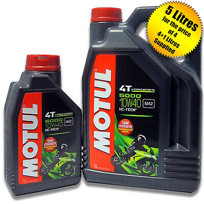 Motul 5000 4T Semi Synthetic 4 Stroke 10W40 Motorcycle / Bike Engine Oil 5 Litre • 27.95£