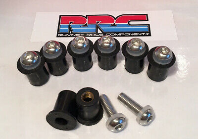 8 X Rubber Well Nuts & Stainless Steel Studs.Triumph Daytona 675R.M5 Fits 10mm O • 6.49£