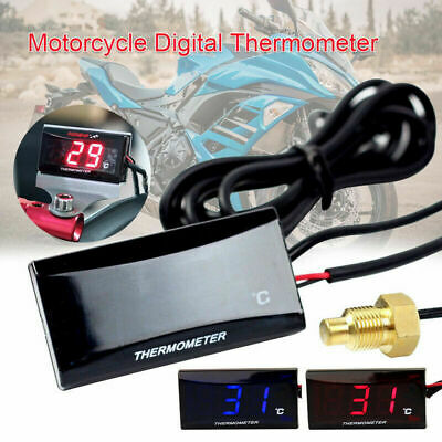 12V Motorcycle Digital LCD Water Thermometer Water Temperature Gauge Universal • 10.87£