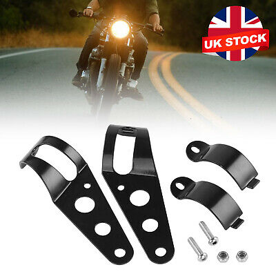 2pcs Motorcycle Headlight Bracket Fork Mount Bracket For Cafe Racer Rack UK • 6.59£