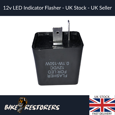 2 Pin 12v LED Flasher Relay ALL Motorcycle Motorbike Indicators With Sound • 4.99£