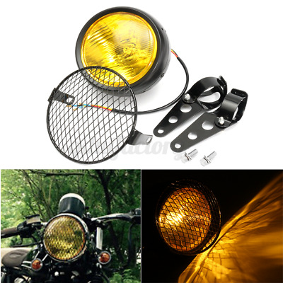 6.5   Universal Motorcycle Motorbike Headlight Grill Light Headlamp + Bracket • 16.99£