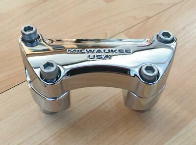 "Harley Chrome 'Milwaukee USA' Handlebar Clamp & 2"" Risers Sportster Dyna Softail • 75£"