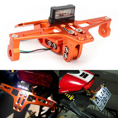 Motorcycle Streetbike Tail Tidy Number Plate Holder W/ LED Eliminator Light NEW • 17.99£