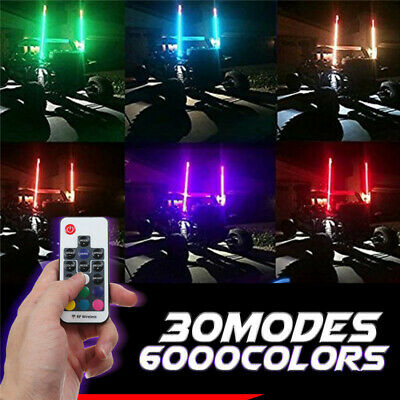 3ft Lighted LED 5050RGB Whip Light Flagpole Lamp W/Flag For Jeep Motorcycle 12V • 33.99£