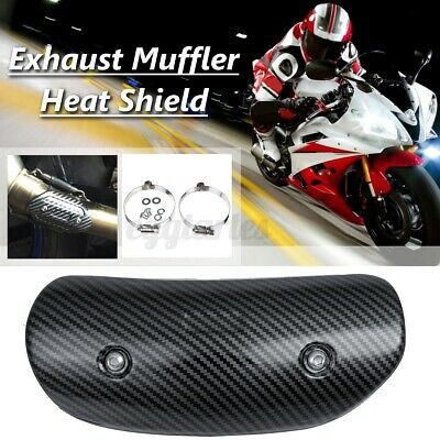 Carbon Black Motorcycle Exhaust Middle Pipe Heat Shield Muffler Protector Guard • 12.99£