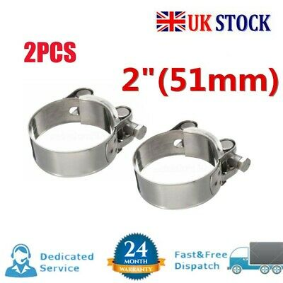 UK - 2Pcs Universal Motorcycle Stainless Steel Band Exhaust Pipe Clamp Calipers • 4.85£