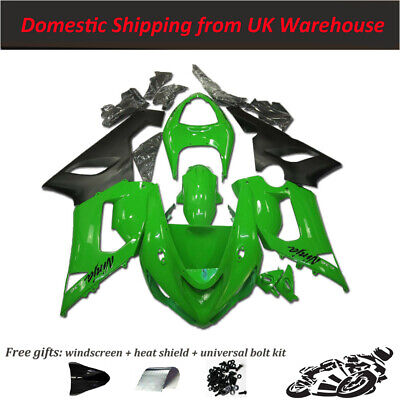 CSM Injection Mould Green Black Fairing Kit Fit For Kawasaki 2005-2006 ZX6R E006 • 345£